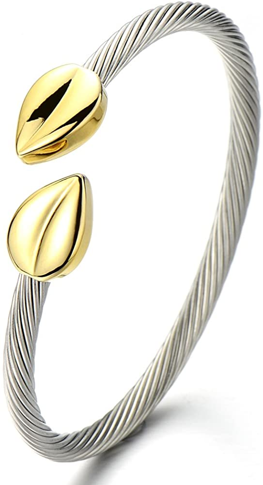 COOLSTEELANDBEYOND Elastic Adjustable Womens Stainless Steel Twisted Cable Bangle Bracelet Gold Silver Two Tone