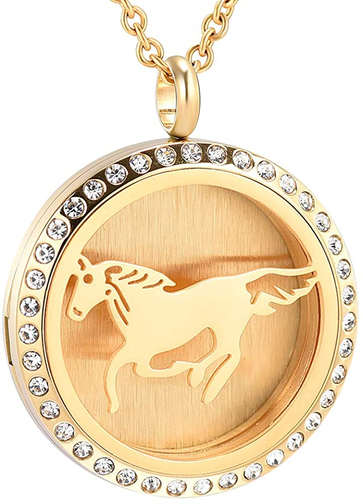 EternityMemory Zircon Inlay 316L Stainless Steel 30mm Round Aromatherapy Essential Oils Diffuser Necklace Locket Pendant with Horse Pattern