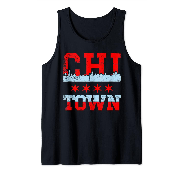 Chi Town Chicago souvenir skyline Flag design Tank Top