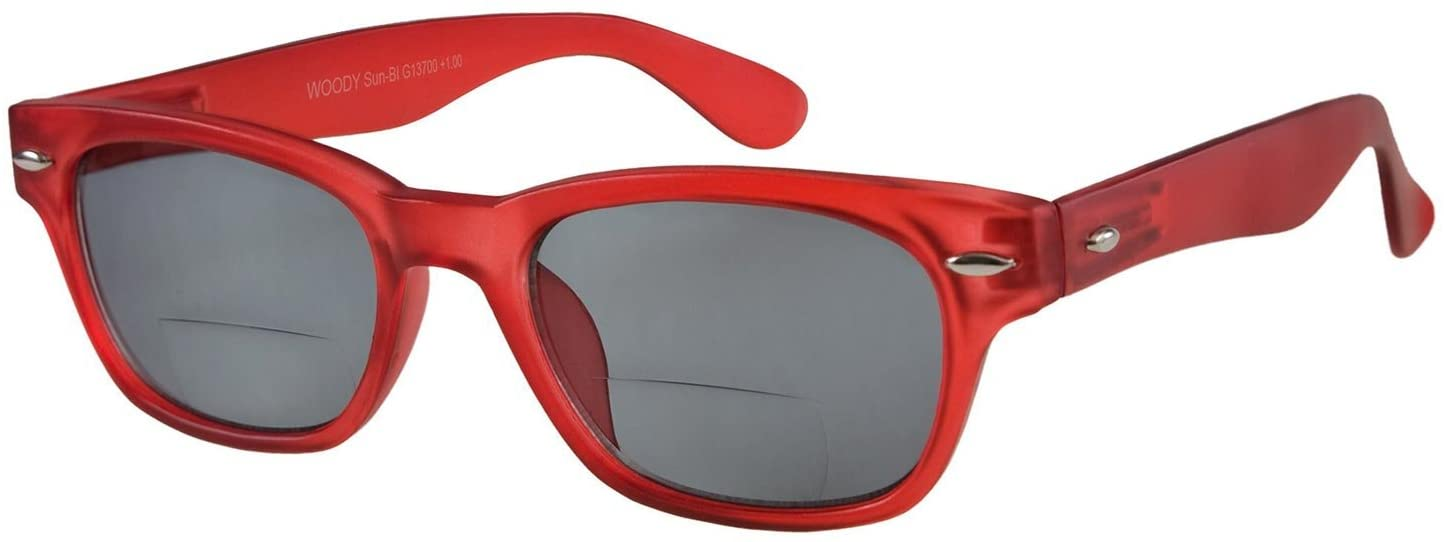 I NEED YOU Readers Red Woody Sun Bifocal Retro Reading Glasses +1.0 Strength Or Choose Your Power