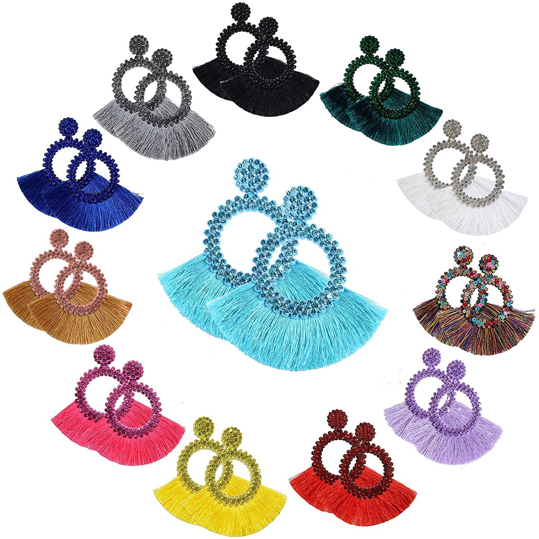 SANIX 6-14 Pairs Tassel Hoop Earrings Bohemia Fan Shape Drop Earrings Dangle Hook Eardrop for Women Girls Party Christmas Gift