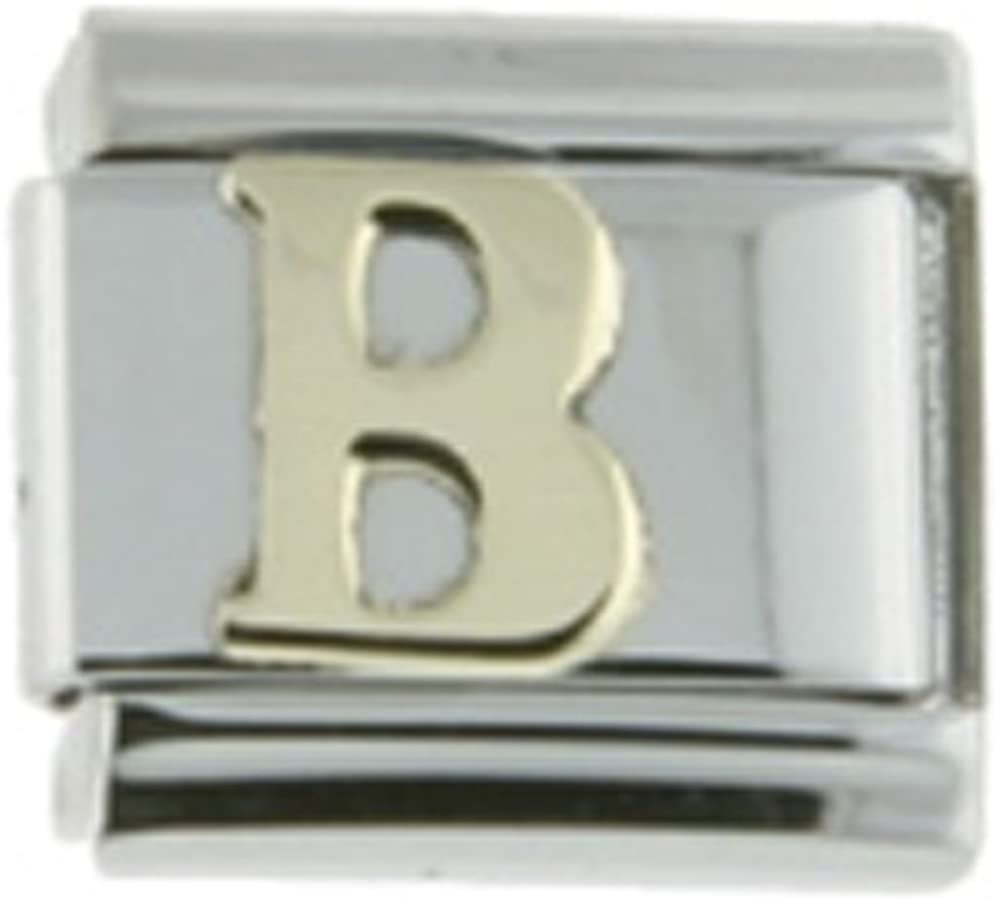 Sabrina Silver Stainless Steel 18k Gold Italian Charm Initial Letters A to Z for Italian Charm Bracelets