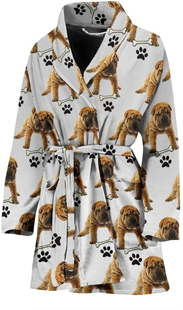 Pawfeel Cute Shar Pei Dog Print Women's Bath Robe