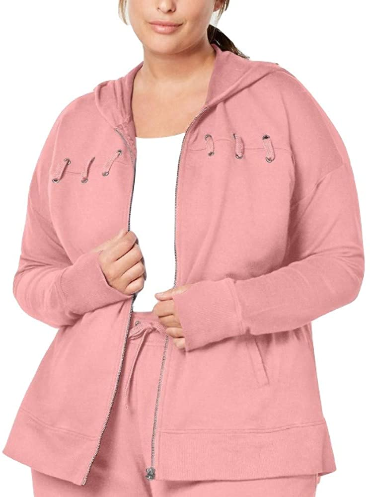 Ideology Plus Size Lace-Up Zip Hoodie Med Pink Size XXX-Large