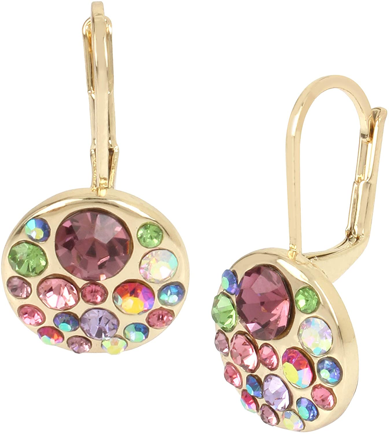 Betsey Johnson Multi/Gold Cluster Round Drop Earrings