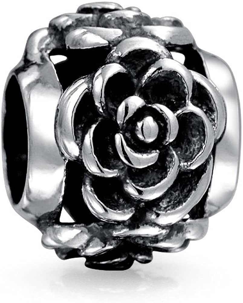Garden Flower Black Rose Spacer Charm Bead For Girlfriend For Women Oxidized 925 Sterling Silver Fits European Bracelet