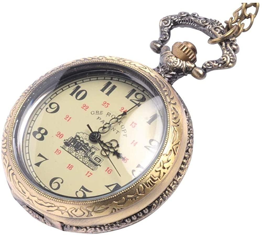 81stgeneration Men's Women's Analogue Mechanical Victorian Style Pocket Watch Brass - 01glVCN077w