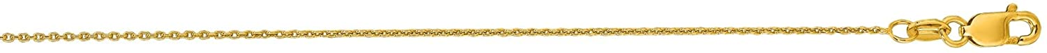 Finejewelers 14 Kt Yellow Gold 16 Inch 0.7mm Bright Cut Round Cable Link Chain Necklace Lobster Clasp