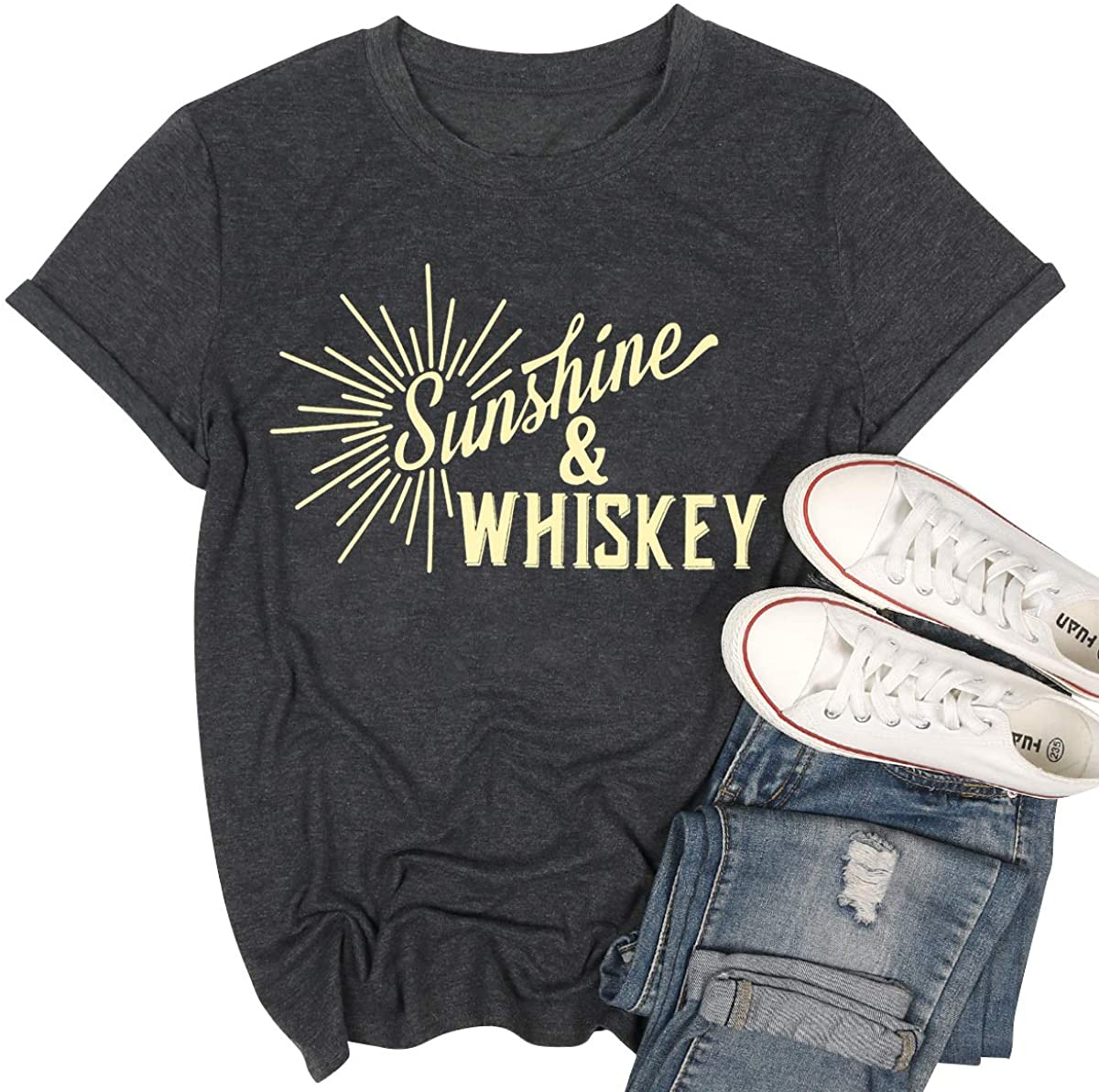 Sunshine and Whiskey Shirt Womens Vintage Graphic T Shirts Summer Holiday Country Short Sleeve Tee Tops