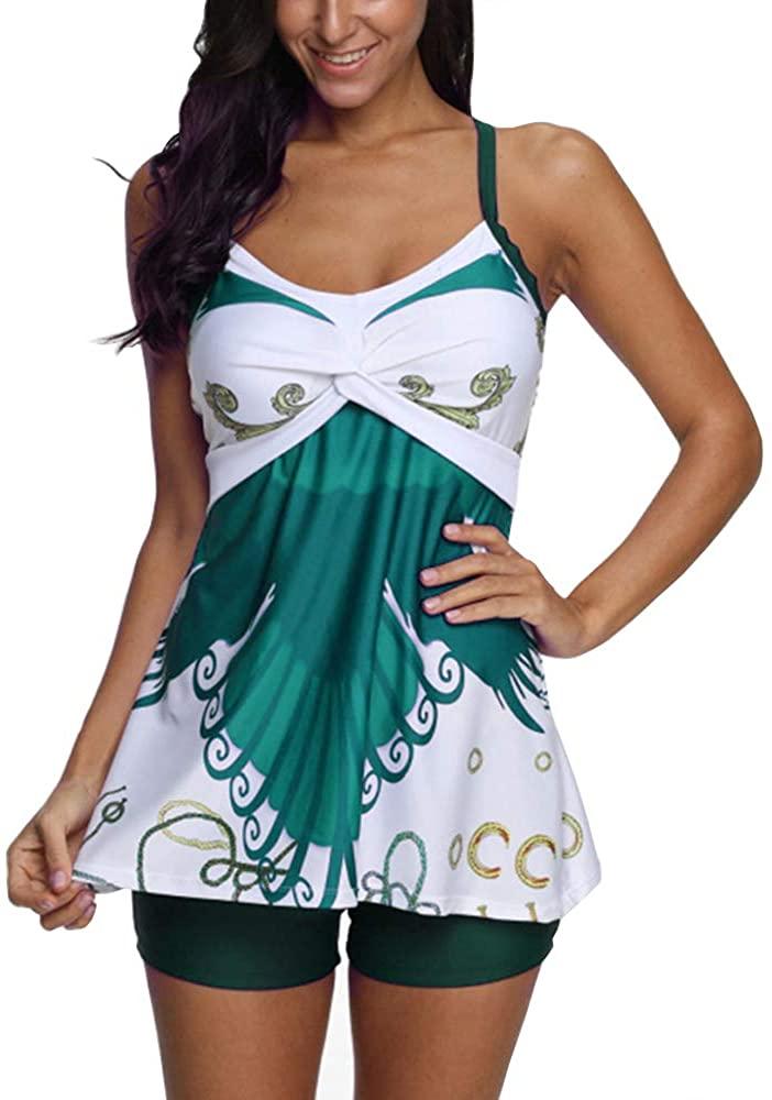 YTBeauty Women's Halter Swimdress with Boyshorts 2 Pcs Printed Tankini Sets Plus Size Swimwear Bathing Suits