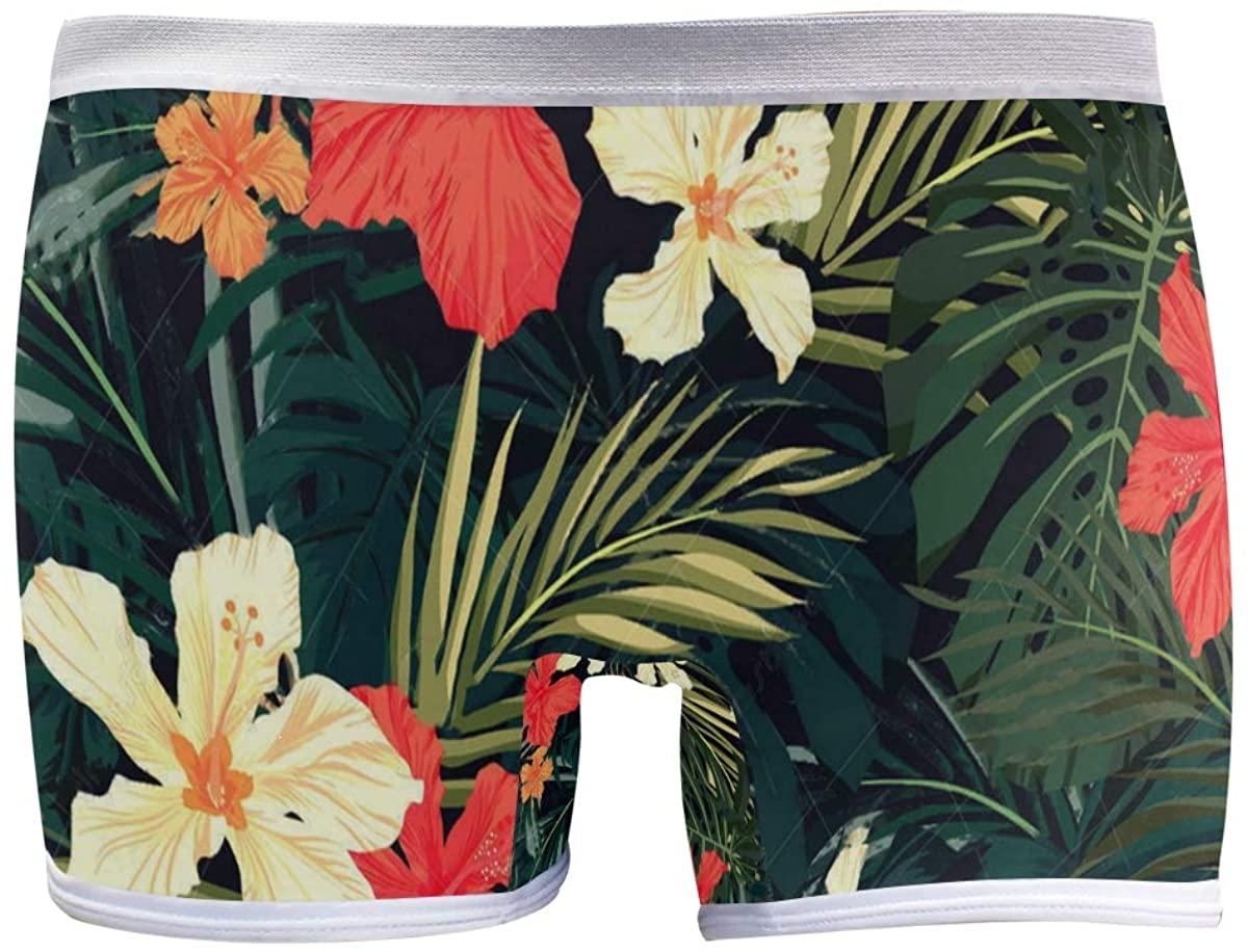 SLHFPX Tropical Style Hawaiian Palm Tree Flower Boyshort Panties Womens Long Leg Underwear Briefs Boy Shorts