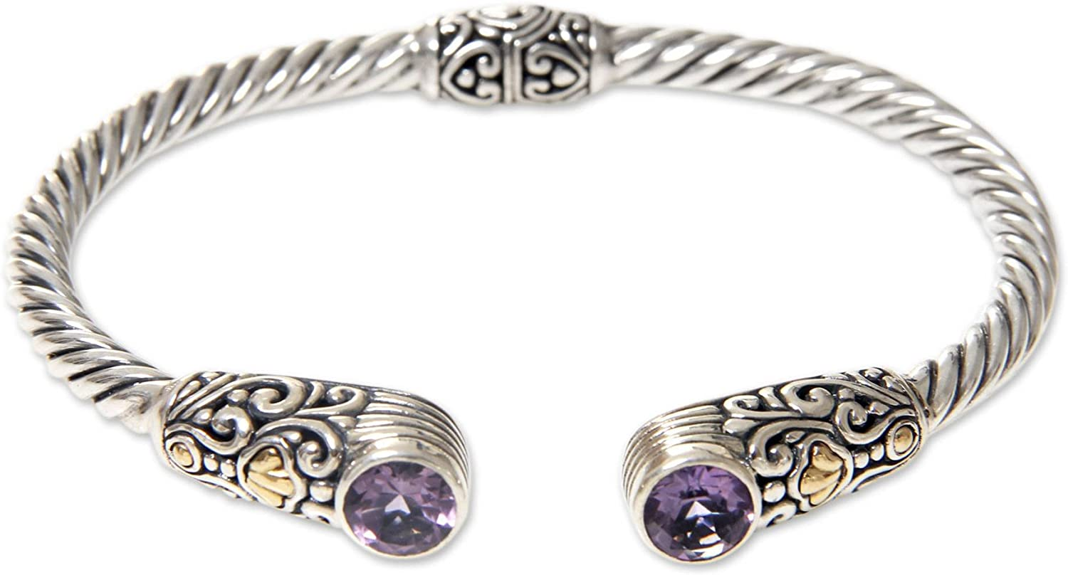 NOVICA Amethyst .925 Yellow Gold Plated Silver Cuff Bracelet 'Sukawati Secret'