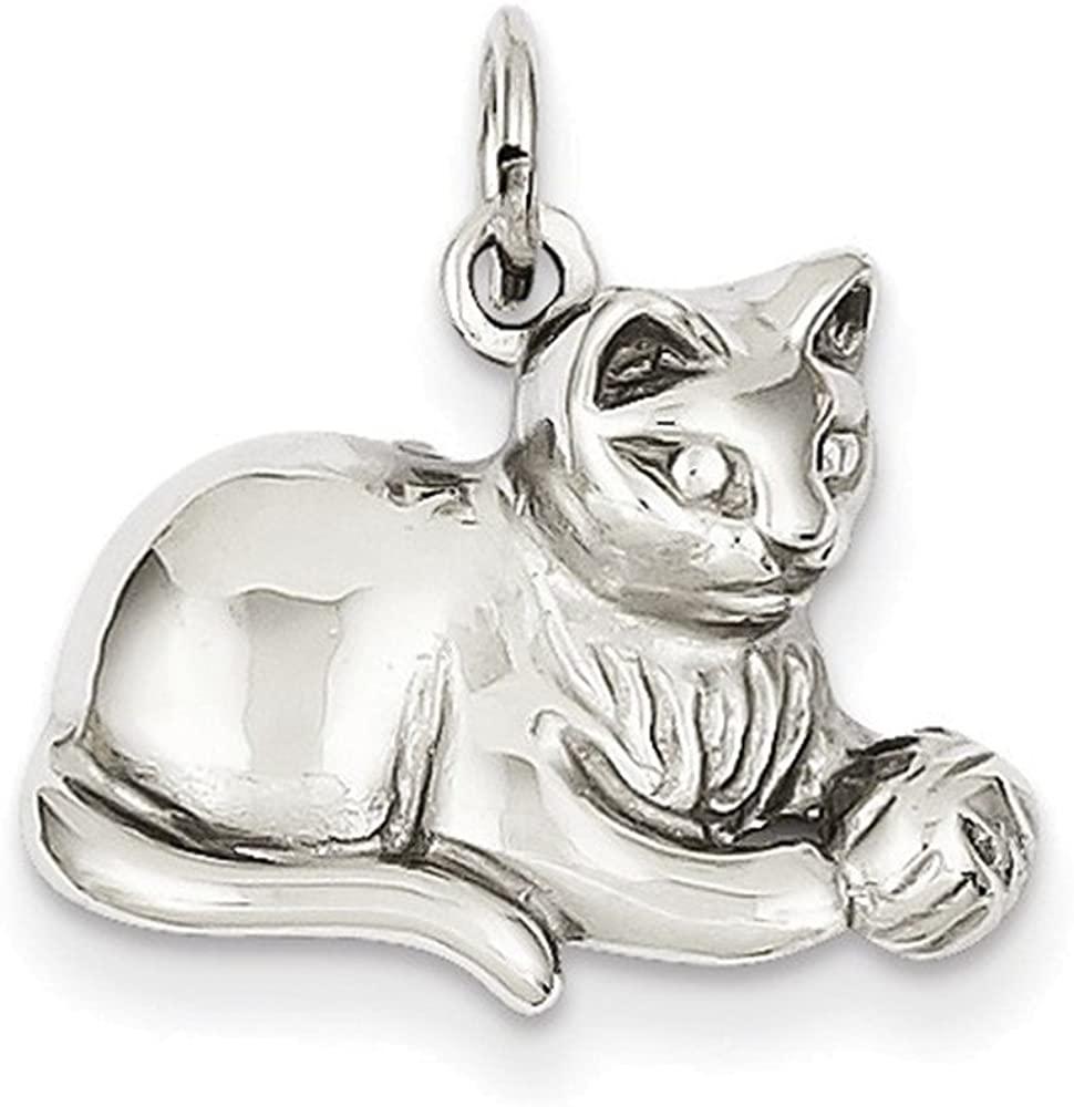 Jewelry Adviser Charms 14k White Gold Diamond-cut Satin Open-Backed Cat Charm