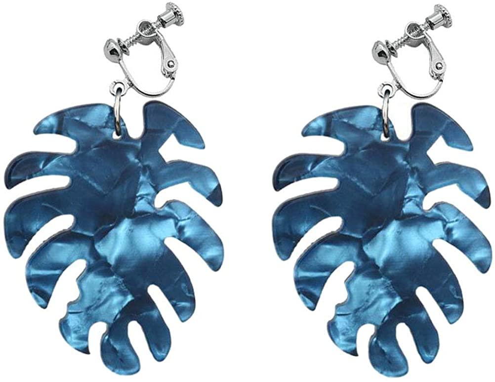 Clip On Earrings Acrylic Earrings Resin Drop Palm Leaf Dangle Fashion Gift for Girls Women Non Pierced