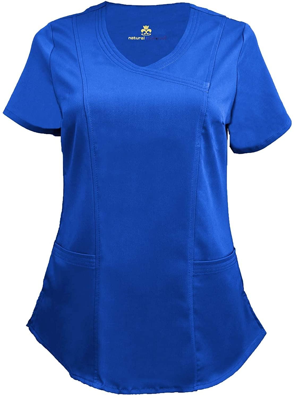 Natural Uniforms Women's Soft Modern Fit Mock Wrap Scrub Top (True Royal Blue, XXX-Large)