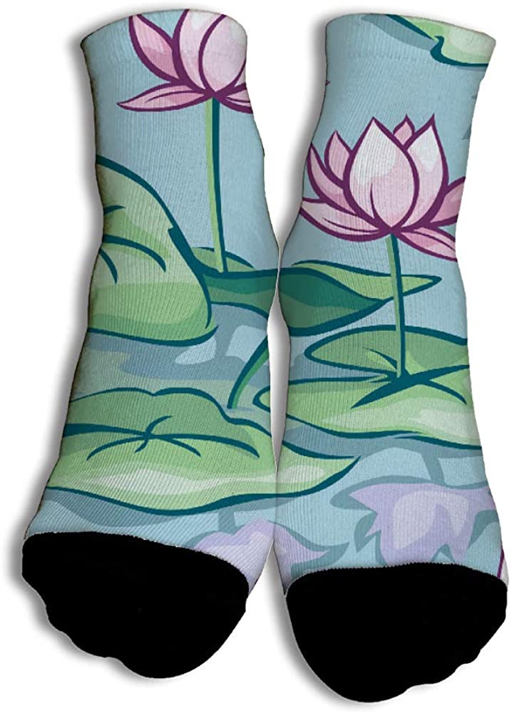 Cotton Painted Pond Beautiful Pattern Low Cut No Show Liner Socks for Girls Boys Football