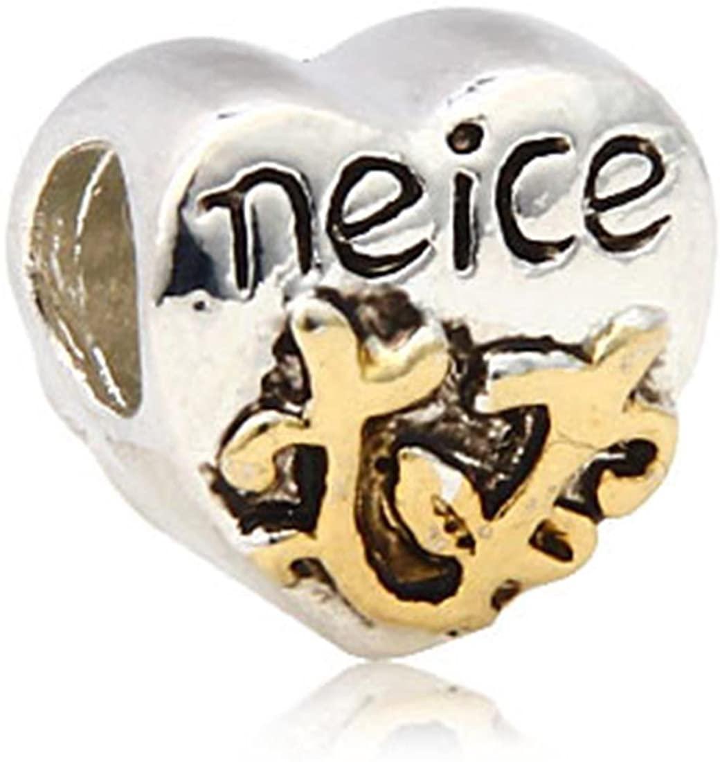 Charm Buddy Niece Heart Charms Bead Fit Gold Silver Pandora Style Bracelets