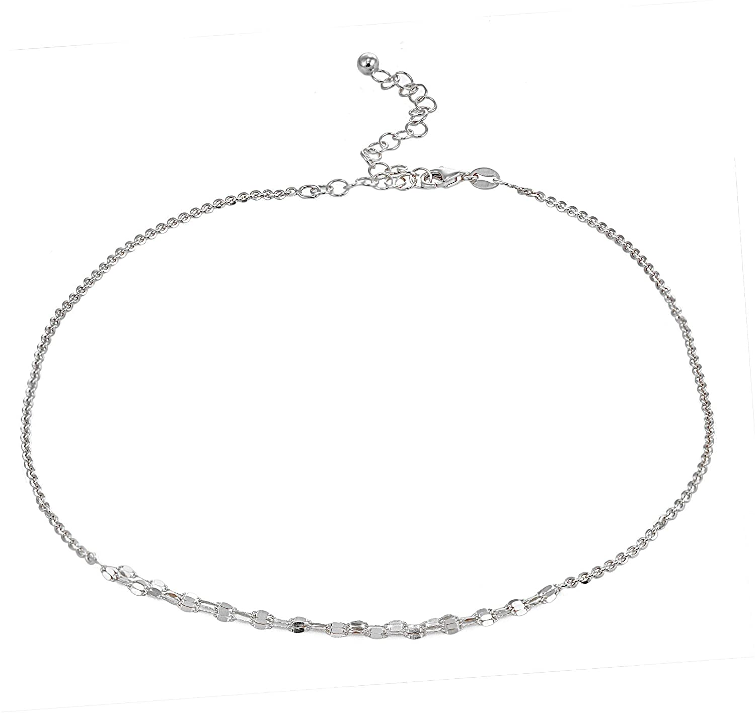 GemStar USA Sterling Silver Cable with Fashion Link Italian Chain Triple Layered Choker Necklace