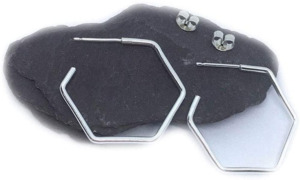 55Carat Hexagonal Hoop 925 Sterling Silver Earrings For Women's Handmade Fashion Jewelry Gift For Girls