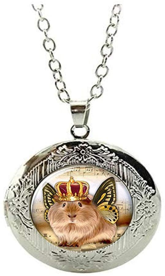 Guinea Pig Locket Necklace Small Animal Locket Necklace Glass Photo Butterfly Wings Jewelry Locket Necklace