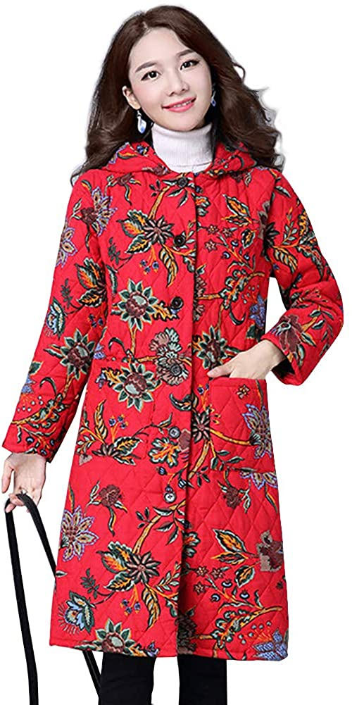 Women Winter Coat Ethnic Print Loose Long Thick Hooded Trench Coat Cotton Clothes Coats Female