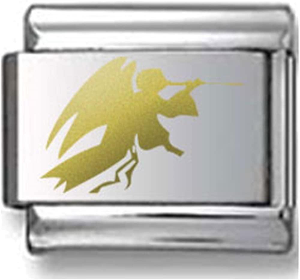 Gold Angel Silhouette Laser Italian Charm