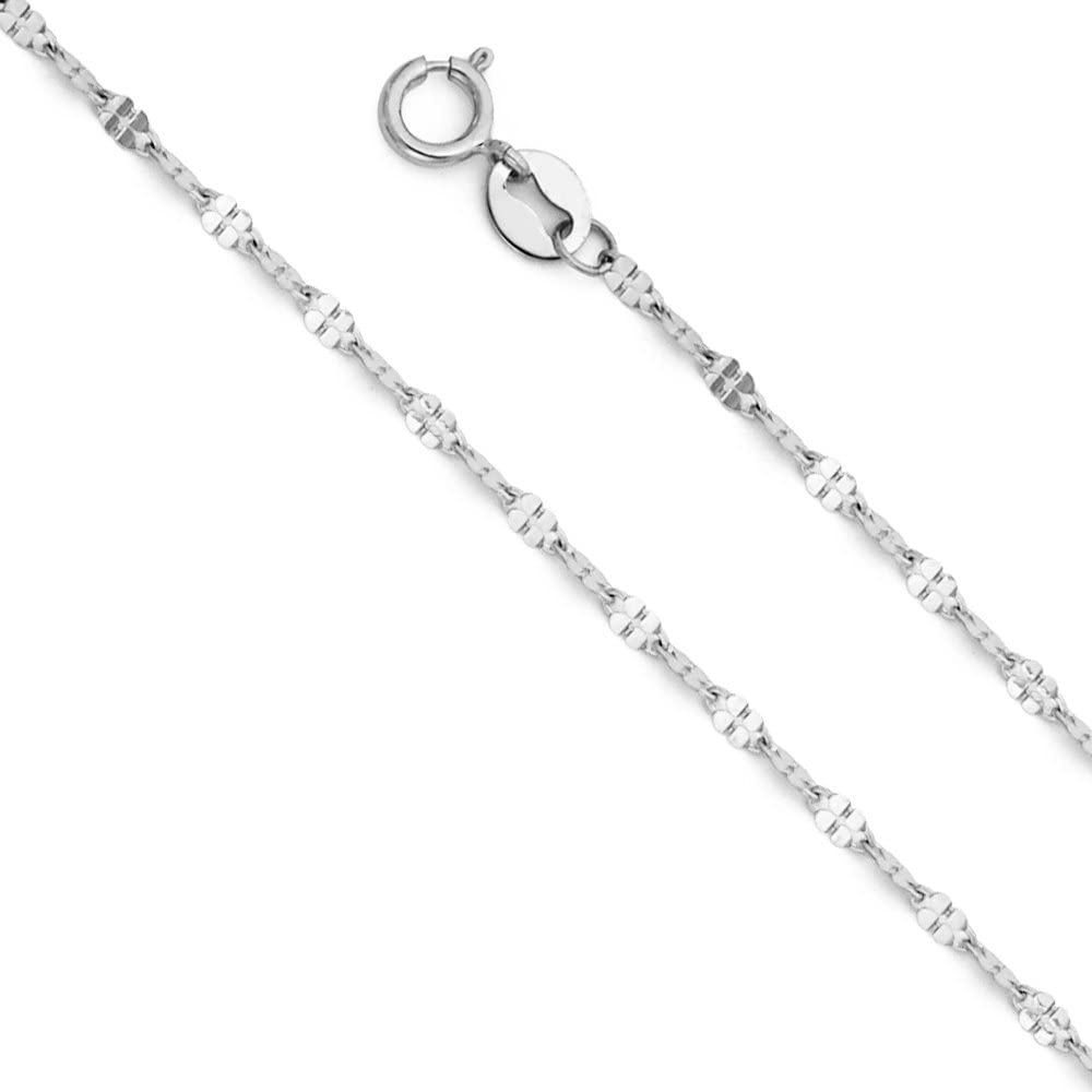 14k REAL Yellow OR White Gold Solid 1.5mm Twisted Mirror Chain Necklace with Spring Ring Clasp