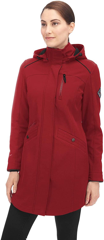 Alpine North Women's Soft-Shell Jacket Lightweight Water Repellent Long Coat