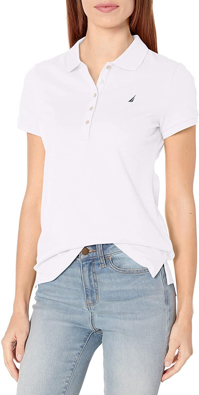 Nautica Women's 5-Button Short Sleeve Breathable 100% Cotton Polo Shirt