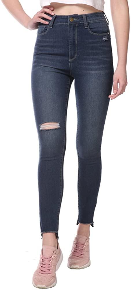 15 Fifteen Women's Blue Summer High Waist Stretch Fray Hem Distressed Ripped Long Jeans with 5 Pockets