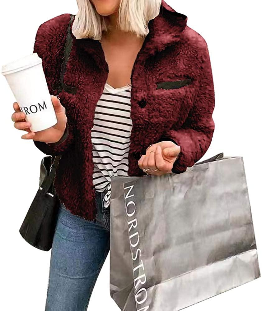 Womens Sherpa Coats Winter Warm Open Front Faux Fur Hooded Cardigan Outwear with Pockets Wine