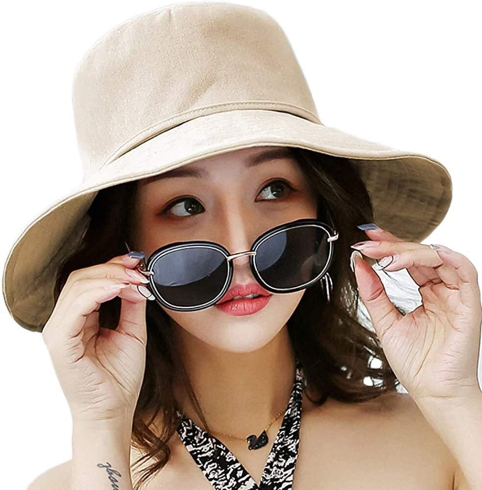 Ladies' Sun Hat Topee UPF 50+ Beach Bucket Foldable Hat Visor Cap Wide Brim Cap (Color : Beige)