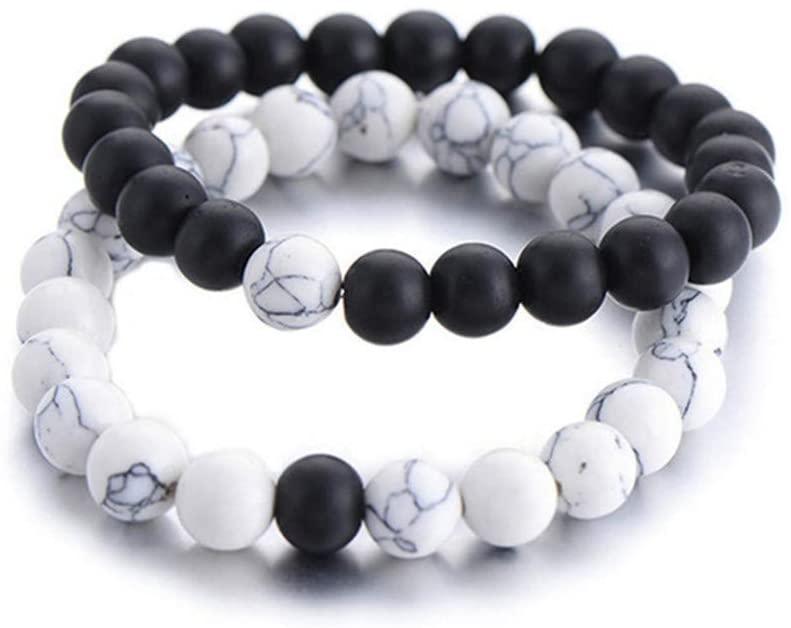 Timesuper 2Pcs Couples Distance Bracelet Classic Lava Rock Natural Stone Agate Beaded Bracelets Bangle for Men Women,Black and White