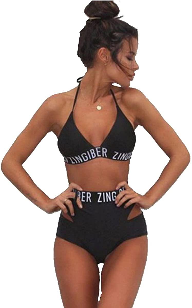 Kissprom Cute Tie Up Halter High Waist 2 Pieces Bikini Swimwear for Girls Letter Printed Beachwear for Teens