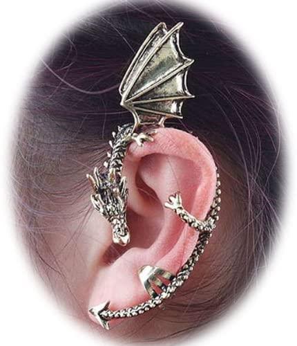 Fashion Punk Silver Oriental Dragon Ear Wrap Cuff Clip On Earring