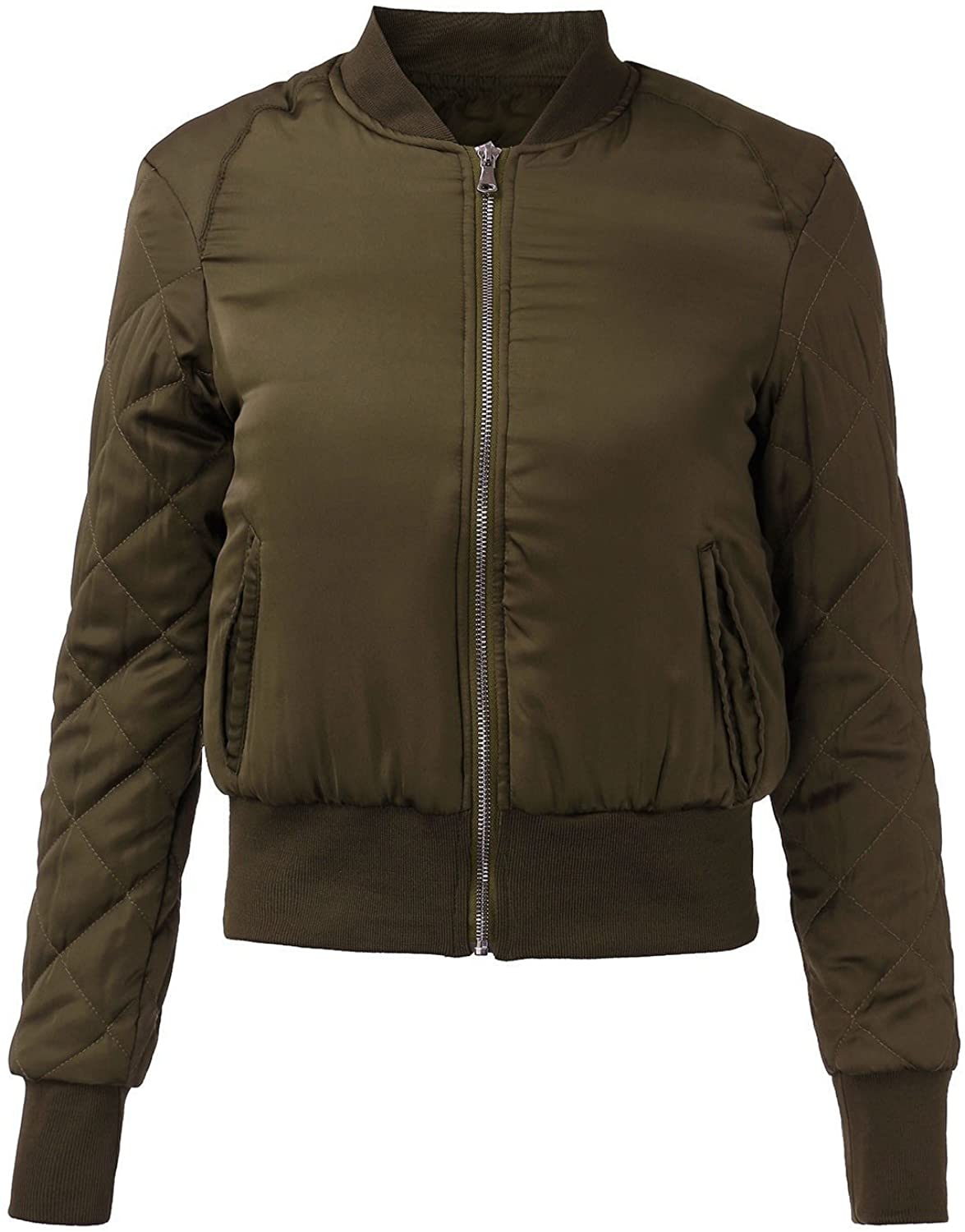 Costbuys Autumn Winter Women Quilted Jacket Thick Cotton Padded Short Bomber Coats Casual