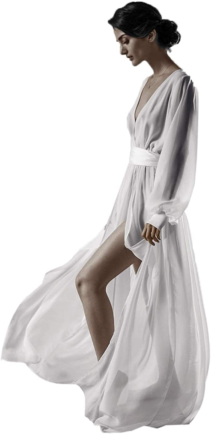Chiffon White Dress Bride Robe with Long Sleeve Boho Wedding Sheer Boudoir Lingerie
