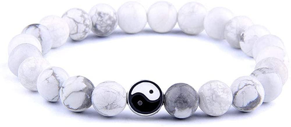 Tattooshe Handmade Bracelet Classic Natural Stone White and Black Yin Yang Taichi Taiji Bagua Beaded Bracelets for Men Women Jewelry Gift
