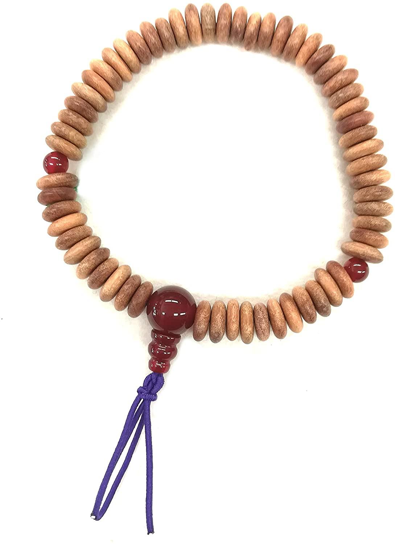 8mm Indian Sandalwood Flat Beads & Red Agate Bracelet Japanese Rosary Mala Juzu Handmade Craft Bracelet for Unisex Gifts for him