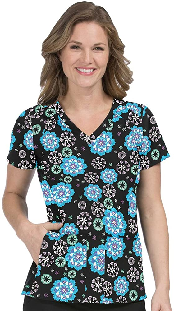Med Couture Activate Women's V-Neck Geometric Print Scrub Top XXX-Large Print