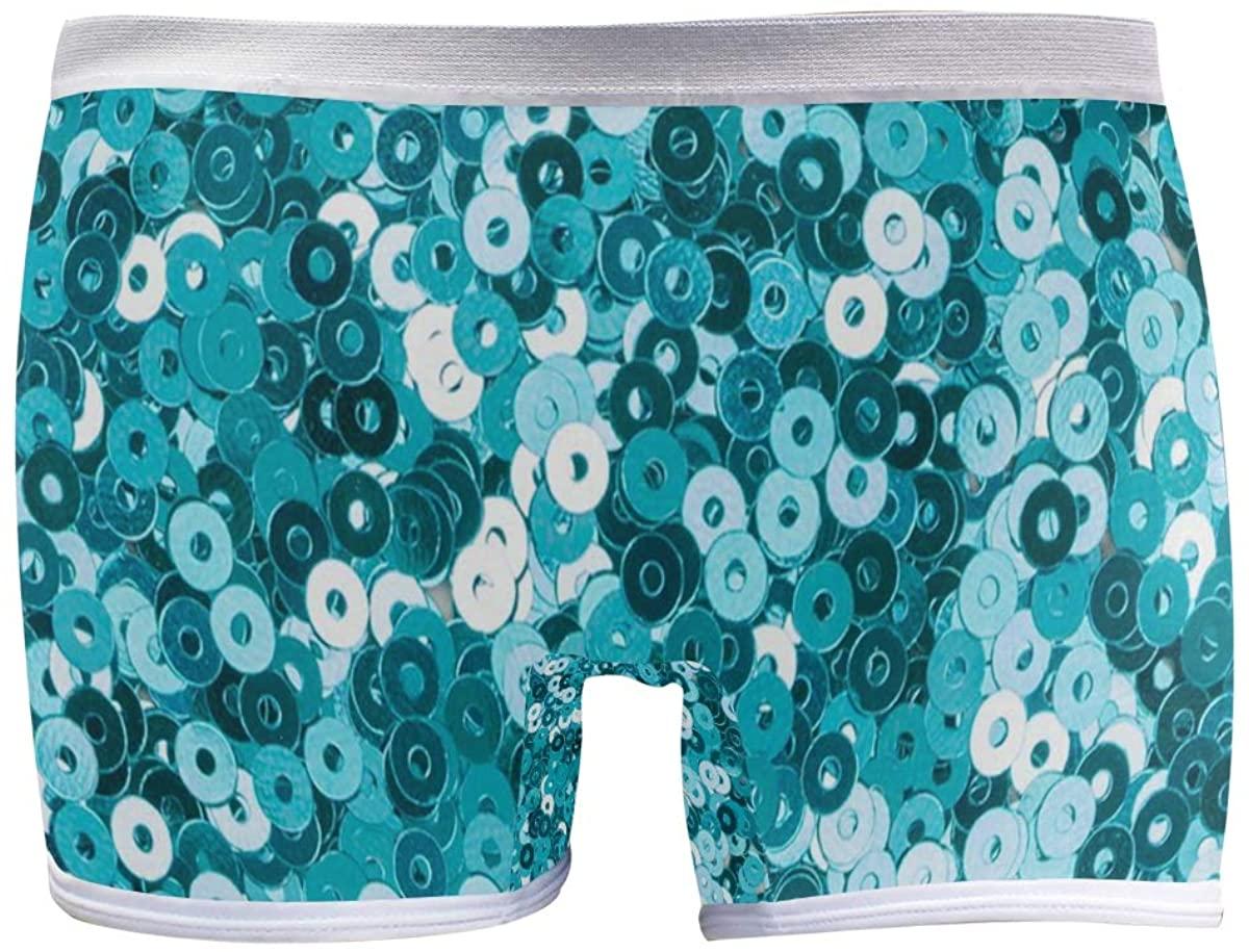 SLHFPX Turquoise Sequin Glitter Boyshort Panties Womens Sexy Seamless Underwear Brief Boy Shorts