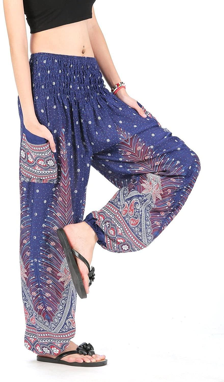 Flowy Comfy Baggy Genie Ninja Pants Trouser Yoga Boho Gypsy Hippie Peacock Blue