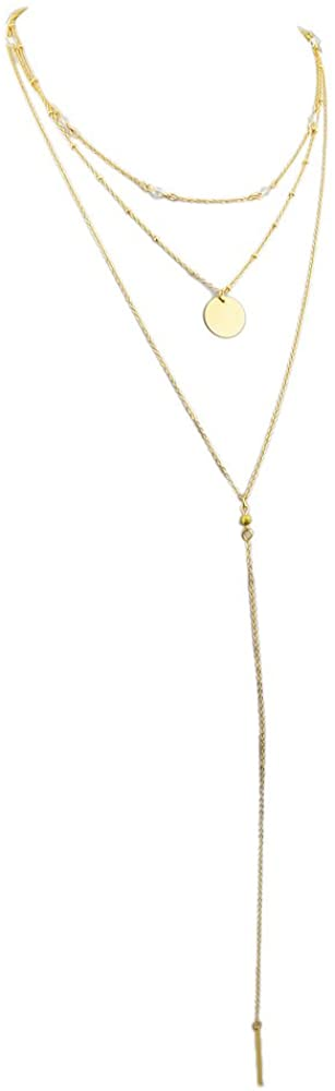 FEELONTOP Fashion Women Favor Gold Color Plated Disc Charm Long Chain Collar Necklace with Jewelry Pouch