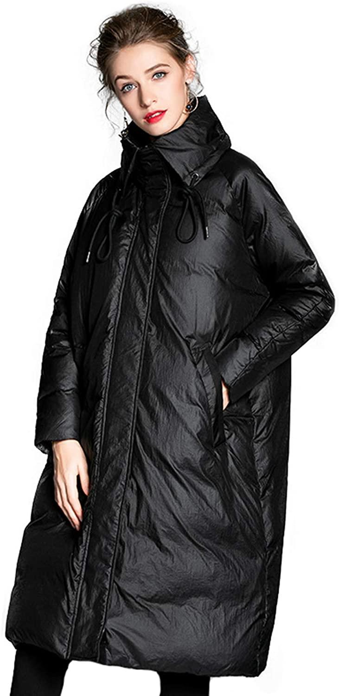 Down Jackets for Women Plus Size Black Shawl Collar Mid Length Water Proof Winter Outwear Jacket