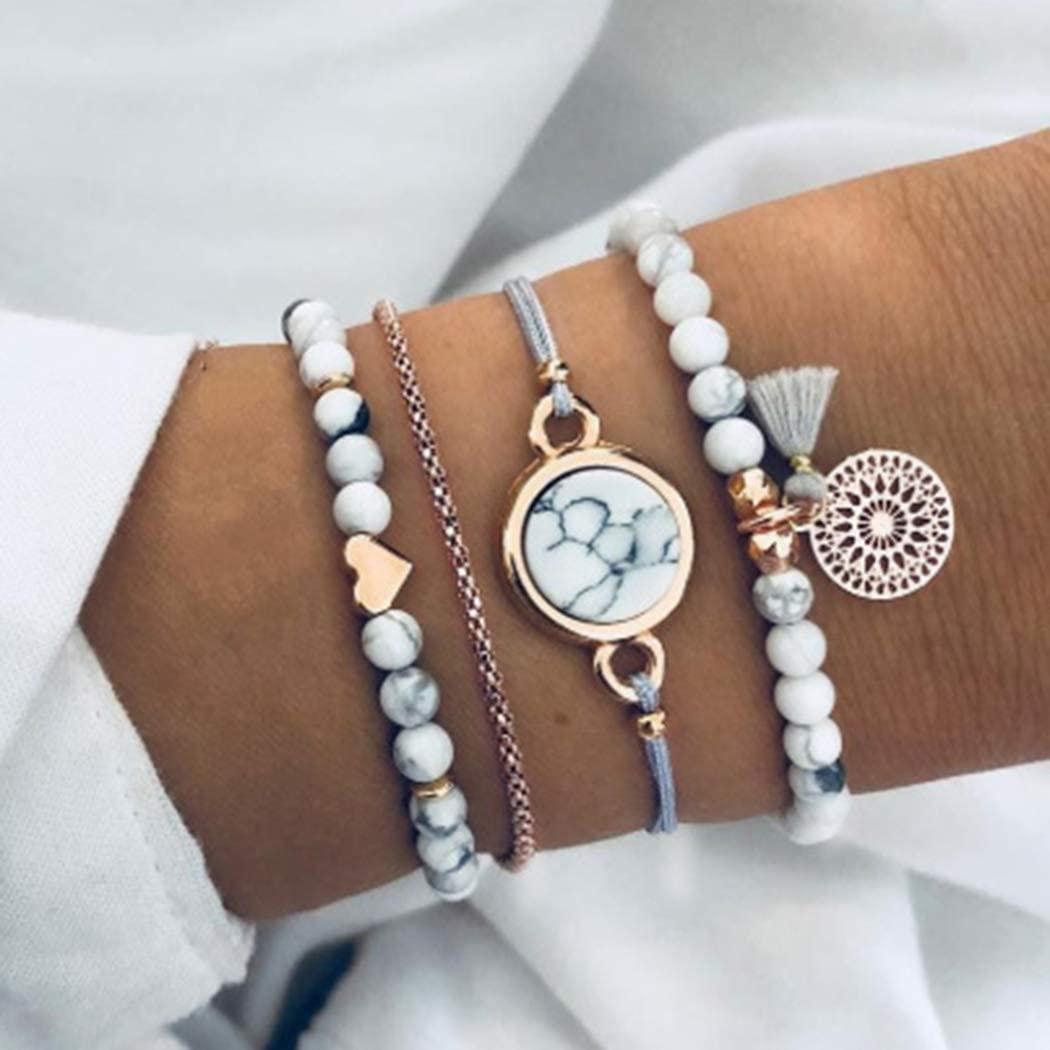 Zehory Boho Turquoise Bracelets Set Heart Tassel Bangle Bracelet Beaded Party Date Birthday Gift Charm Bracelet Chain Jewelry for Women and Girls(4Pcs)