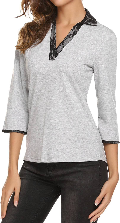 UNibelle Womens V Neck Shirt Long Sleeve Button Tunic Top