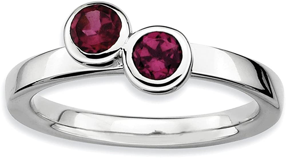 Beautiful Sterling silver 925 sterling Sterling Silver Stackable Expressions Dbl Round Rhodolite Garnet Ring