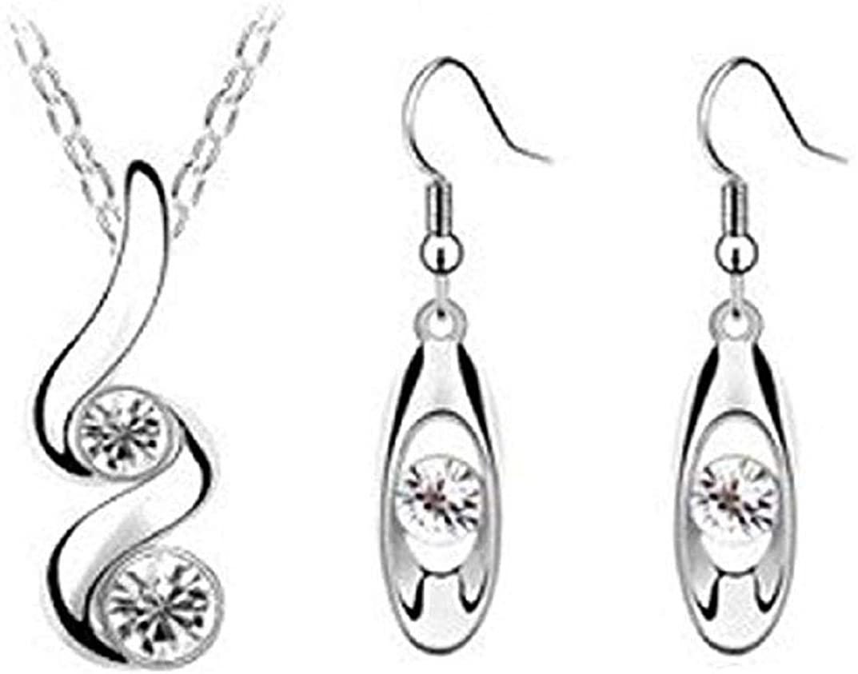 TOPOB Jewelry Set, Silver Necklace + Earrings Blue/Pink/White Rhinestone Decorative Pendant Accessory