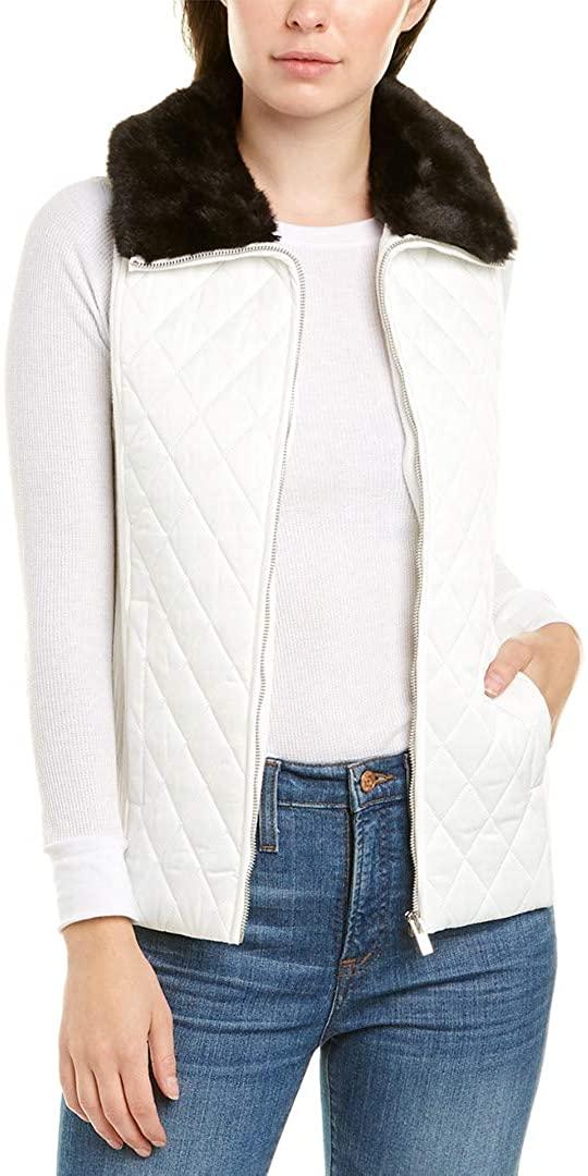 Jones New York Quilted Faux Fur Collar Vest