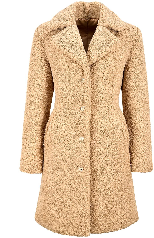 Ladies Teddy Coat Soft Faux Shearling Knee Length Smart Winters Coat Jacket 4040